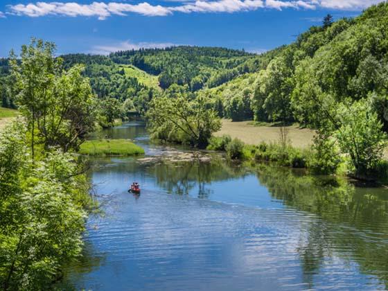 Danube River near Thiergarten on Upper Danube Valley, Swabian Alb, Baden Wuerttemberg, Germany, Europe